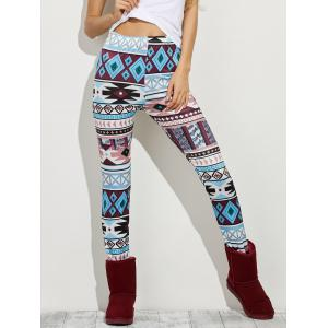 High Waist Geometric Skinny Aztec Print Leggings - Colormix - Xl