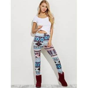 High Waist Geometric Skinny Aztec Print Leggings - COLORMIX XL