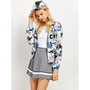 Zip Lace Panel Flower Print Jacket -