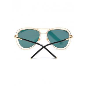 Hollow Out Rims Mirrored Pilot Sunglasses -