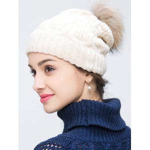 Faux Wool Crochet Pom Hat with Alloy Label - OFF WHITE