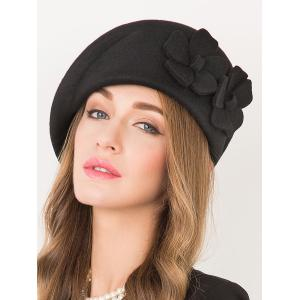Flower Applique Embellished Wool French Beret -