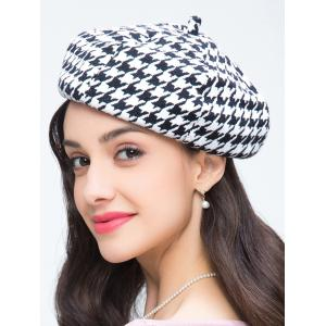 Houndstooth Pattern Painter Beret French Hat -