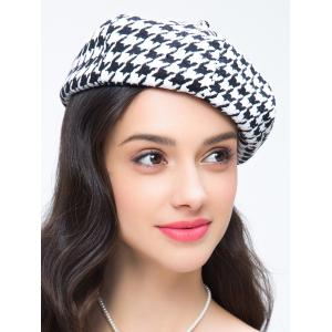 Houndstooth Pattern Painter Beret French Hat - WHITE/BLACK