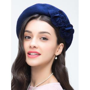 French Painter Beret with Flower - ROYAL