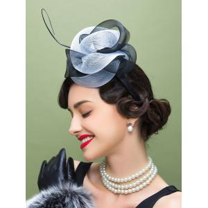 Lace Trim Fascinator Cocktail Hairband Hat - WHITE AND BLACK