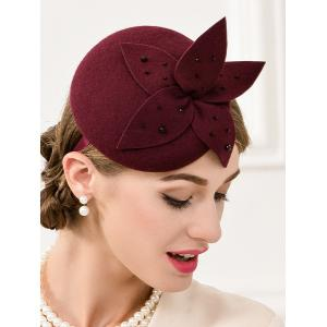 Rhinestone Flower Pillbox Hairband Hat - WINE RED