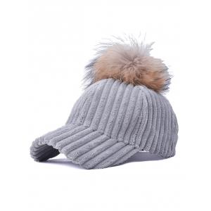 Pom Ball Embellished Corduroy Baseball Hat