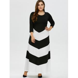 Plus Size Zig Zag Maxi Evening Dress with Sleeves - BLACK WHITE XL