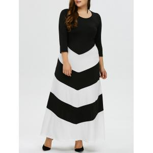 Plus Size Zig Zag Maxi Evening Dress with Sleeves - Black White - Xl