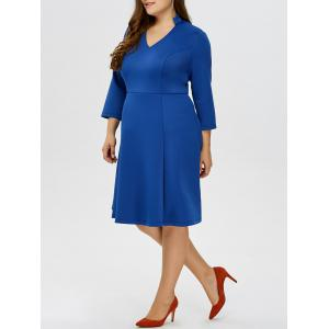 Plus Size V Neck Knee Length Flare Dress