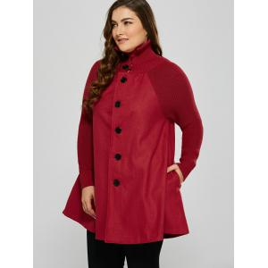 Plus Size Knitted Inset Wool Blend Coat -