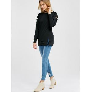 Long Sleeve Cut Out Tee - BLACK XL