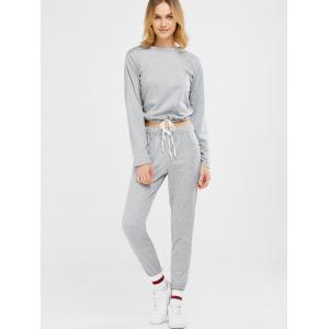 Sports Tee With Drawstring Sports Pants - LIGHT GRAY XL