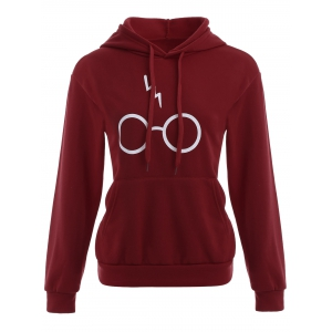 Pullover Graphic Kangaroo Pocket Hoodie - Wine Red - S