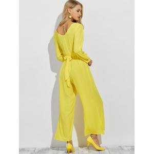Plunging Neck Long Sleeve Wide Leg Jumpsuit -