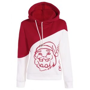 Color Block Santa Print Christmas Hoodie - Red And White - S