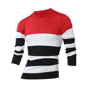 Crew Neck Color Block Stripes Sweater - Red - 2xl