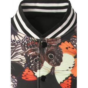 Stand Collar Button Up Butterfly Printed Jacket - BLACK 2XL