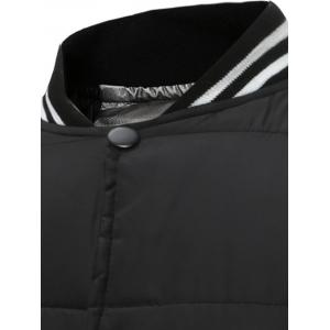 Button Up Color Block Rib Insert Quilted Jacket - BLACK 3XL