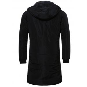 Zip Up Cuffed Hooded Quilted Coat - BLACK 5XL