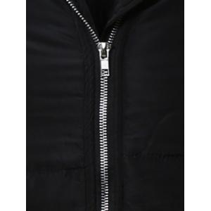 Zip Up Cuffed Hooded Padded Quilted Coat - BLACK 5XL