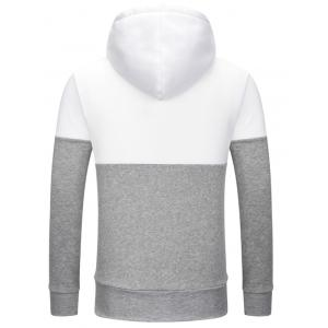 Full Zip Color Block Embroidery Logo Hoodie - WHITE 2XL