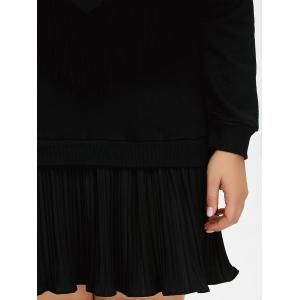 Plus Size Fringed Insert Pleated Dress -