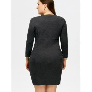 Plus Size Pockets Stretchy Bodycon Dress -