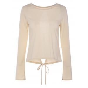 Self-Tie Open Back T-Shirt - Apricot - L