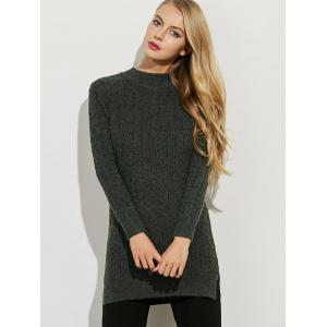 Side Slit Stretchy Long Sweater - BLACKISH GREEN ONE SIZE