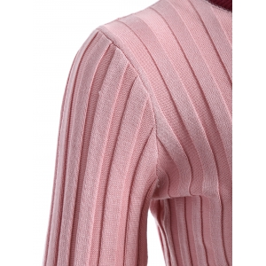 Bell Sleeve Ribbed Contrast Sweater -
