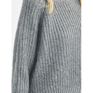 Chunky Asymmetrical Sweater - DEEP GRAY ONE SIZE