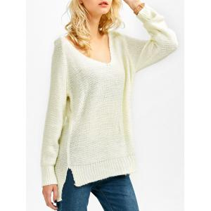 V Neck Asymmetrical Side Slit Sweater