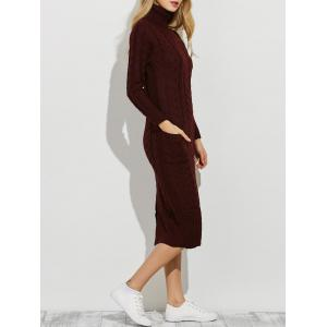Slit Roll Neck Cable Knit Midi Jumper Dress - Burgundy - One Size