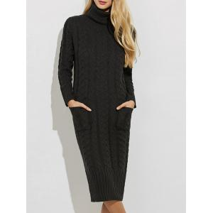 Slit Roll Neck Cable Knit Midi Jumper Dress