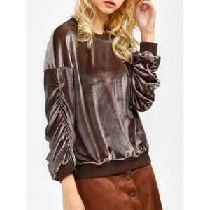 Velvet Ruched Sweatshirt