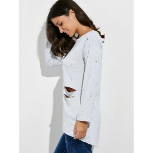 Oversized Long Sleeve Distressed T-Shirt - GRAY L