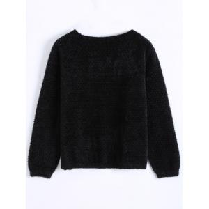 Short Fuzzy Knitted Cardigan - BLACK ONE SIZE