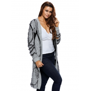 Long Collarless Fuzzy Cardigan - GRAY ONE SIZE
