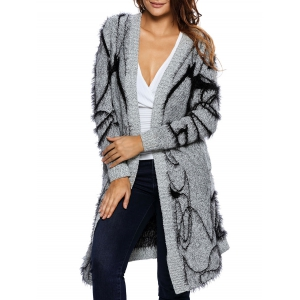 Long Collarless Fuzzy Cardigan - Gray - One Size