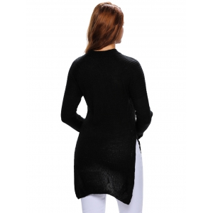 Long Side Slit Lace-Up Long Sweater - BLACK ONE SIZE