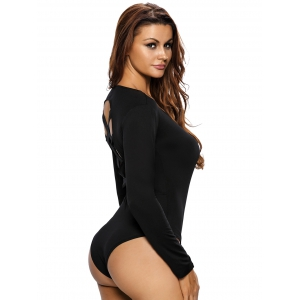 Long Sleeve Criss Cross Cut Out Bodysuit -