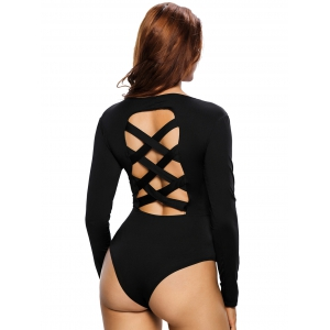 Long Sleeve Criss Cross Cut Out Bodysuit - BLACK L