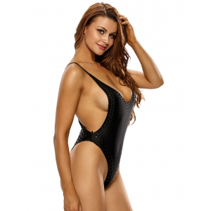 Spaghetti Strap Backless Plunge Low Cut Bodysuit - BLACK L