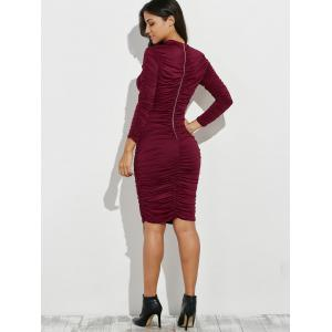 Ruched Bodycon Knee Length Dress -