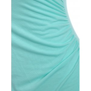 Plus Size Ruched Surplice Dress - LIGHT GREEN 2XL