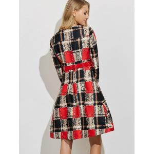 A Line Button Up Plaid Belted Dress - RED XL