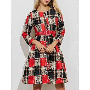 A Line Button Up Plaid Belted Dress