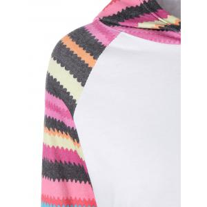 Hooded Striped Raglan Sleeves T-Shirt -